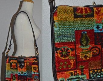 CARPET BAG LOVE - vintage 60s mod Collins of Texas psychedellic tapestry chenille Mod Gogo shoulder bag