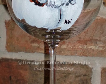 Painted Wine Glasses, Dog Painting Custom, Custom Pet Portrait, Painting from Photo, Stemless Wine Glass, Personalized, custom dog painting