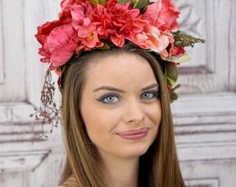 Pink Flower Fairy Costume Headdress, Fantasy Headdress, Floral Headpiece, Woodland Flower Crown Headpiece, Cosplay, Costume, Fantasy, Elven