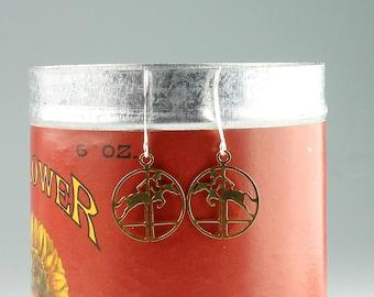 Sterling Silver Vintage Brass Jumping Horse Earrings, Vintage equestrian dangle earrings