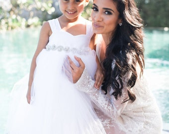 As Seen on Simply Sepi, Bridestory, StyleMePretty Flower Girl Dress Crystal Waistline