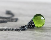 Green Quartz Necklace, Bright Green Necklace, Black Oxidized Sterling Silver Necklace, Dainty Chain Necklace, Gemstone Pendant Necklace
