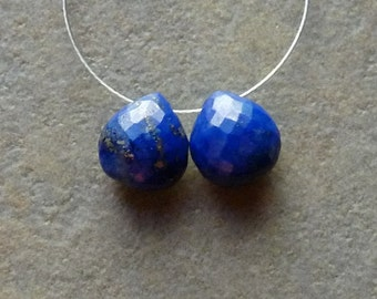 AAA Lapis Lazuli Faceted Heart Briolettes - PAIR - 8mm