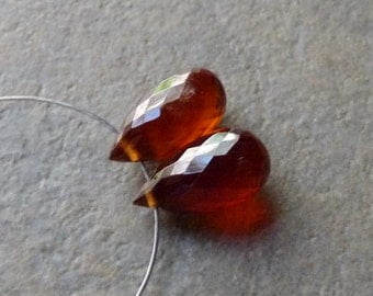 AAA Dark Amber HESSONITE Full Faceted Tear Drop Briolettes - 5x10mm - Matched Pair