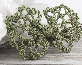 Olive Green Hair Bow, Crochet Lace Bowtie Hair Clip for Girls, Women