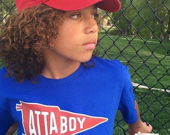 Atta Boy! Royal Blue Kids Tshirt. Vintage distressed pennant in red white and blue. Toddler & Youth Sizes. Sports Shirt, Baseball tee