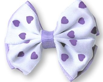 Valentine Hair Bow Set of 2. Purple Heart Stacked Bows. Valentines Day Hair Clips. Baby Toddler Girl Hair Clippies With NonSlip Grips