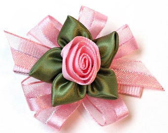 Pink Hair Bow. Pink Ribbon Rose Hair Clips With Non-Slip Grips. Girls Hair Clips Set of 2. Toddlers Hairclips. Fancy Baby Hair Clippies