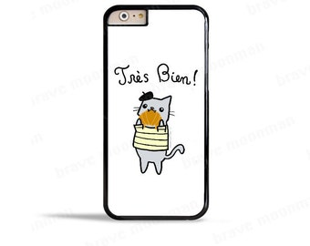 Cute iPhone 6s Case French Kitty Croissant Nom Nom iPhone 7 Case Samsung Galaxy S7 Case Cute Cat Phone Case