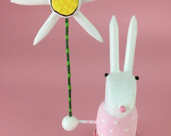 White Rabbit Sculpture with Pink Easter Dress | Easter Bunny | Spring Rabbit | Bunny Rabbit with Daisy