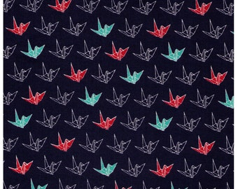 HALF YARD - Origami Cranes on NAVY - Cosmo - Japanese Imported Fabric
