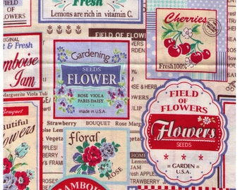 HALF YARD Yuwa - Vintage Fruit and Flower Labels on Light BEIGE Colorway E - Atsuko Matsuyama 30s collection -  Japanese Import Fabric