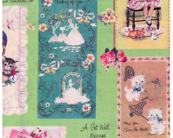 HALF YARD Yuwa - Micci Collection - Vintage Cards and Gift Tags on GREEN- Japanese Import Fabric