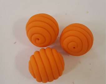 Orange Round Polymer Clay Coil Beads/ Set Of Three 16mm Handmade Beads/ Jewelry Supplies/ Sculpey Clay Beads