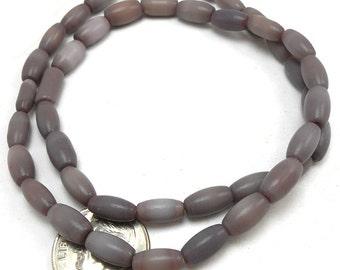 44 Purple Catseye Glass Beads 9x4MM Ovals cateye (H2321)