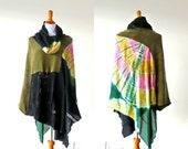 Cowl Neck/Hooded Stevie Nicks Festival Wear Tie Dye Poncho ruana jacket coat hippie gypsy boho chic cape handmade upcycled wearable art