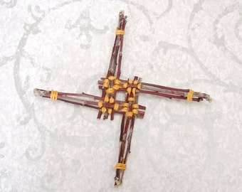 Radiant Brigid Cross - Unique Apple Wood Celtic inspired Ornament Woven in Golden Yellow - Handmade House Warming Hearth Blessing Gift ABC04
