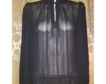 Black Sheer High Collar Blouse Tie Neck, Small Medium, Victorian Gothic
