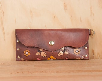 Leather Pouch or Clutch - Meadow pattern with bees and flowers in pink, gold and antique mahogany  - Envelope Clutch or Wristlet