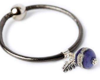 VELVET leather bracelet- purple lampwork glass bead