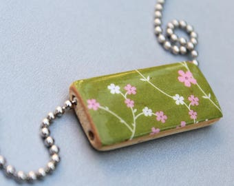 SALE - Kiwi Mini Floral Garden Print Bamboo Pendant on a Ball Chain Necklace - Green and Pink Bamboo Tile Picture Pendant