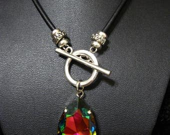 Large Swarovski Pear Pendant on a Front Toggle Necklace with Leather or Chain