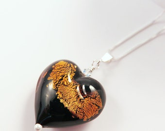 Black and Topaz Murano Glass Heart Pendant on Sterling Silver Chain, Gift for Her, Striking Abstract Design, Mother's Day Gift