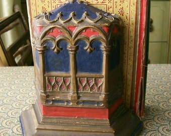 Vintage Chalkware Bookend Single Gothic Dark Polychrome Curiosity Cabinet Decor