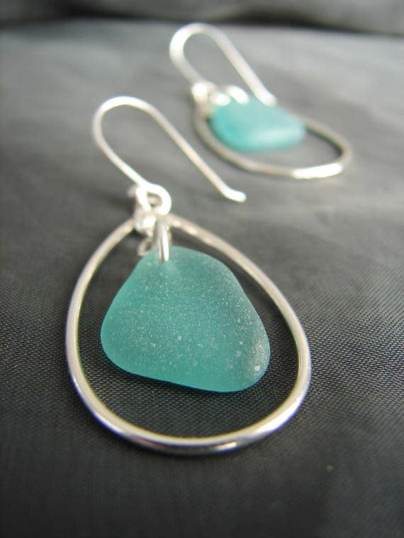 Sea Keeper sea glass earrings in teal green