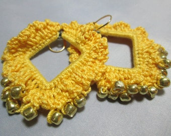 Spring Easter Yellow Crocheted Earrings