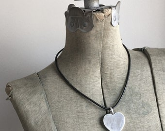 Big Love Sterling Silver Heart Pendant Necklace Leather Cord Statement Necklace I Love You