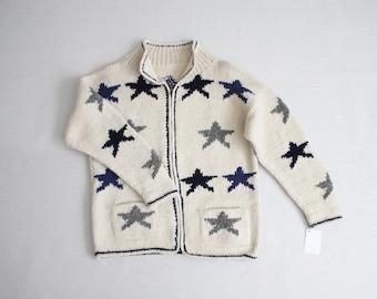 wool sweater jacket   star print sweater   oversized sweater coat