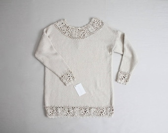 crochet sweater | beige silk sweater | express tricot
