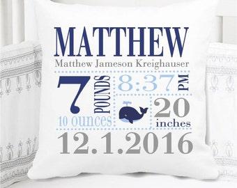 Boys Birth Announcement Pillow - Whale