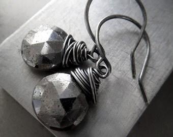 Silver Pyrite Gemstone Earrings, Silver Fools Gold Earrings, Oxidized Sterling Silver, Wire Wrapped Pyrite Earrings, Briolette Teardrop