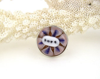 Hope art glass snap charm chunk popper interchangeable handmade