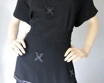 Siren Song - Vintage 1940's Black Rayon Beaded keyhole Peplum Cocktail dress XL XXL