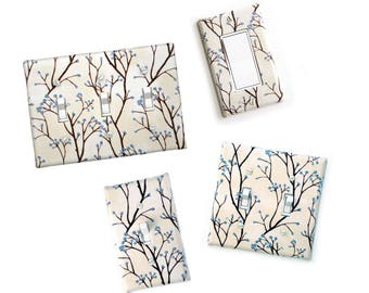 Fabric Covered Light Switch Plate Cover - All Styles - Double, Triple, GFCI, Outlet, Slider, Rocker, Toggle - off white, branches blue buds