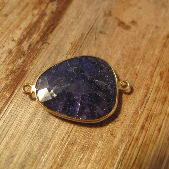 Sapphire Pendant, One Gold Plated Irregular Bezel Pendant, 27.5mm x 18mm, Double Sided, Blue Gemstone Charm for Making Jewelry (C-Sa1ad)