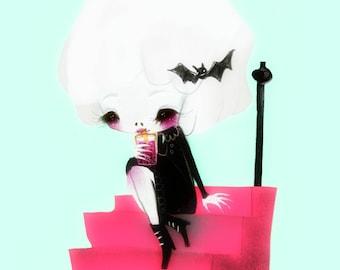 Skully Girl - 5 x 7 Print alien cute girl art print skull girl goth kawaii cute bats illustration