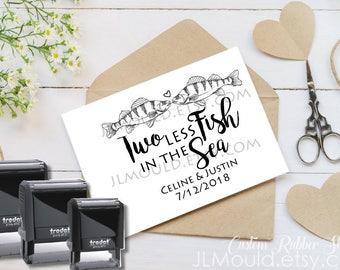 1010 SELF INKING Wedding Favor Stamp Two Less Fish in the Sea Rubber Stamp Wedding Shower Favor Stamp Gift Stamp Fish Invitation
