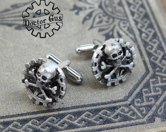 Skull and Crossbones Cufflinks - Pirate Cuff Links - Steampunk Suit and Tie Accessories by Doctor Gus - Handcrafted in the USA