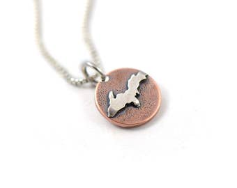 Handmade Rooted Yooper Mixed Metal Sterling Silver, Copper Charm