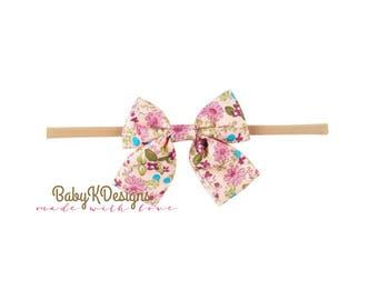 Newborn Baby Headband | Fabric Bow Headband | Infant Bow | Toddler Girl Headband Baby Girl Headband | Nylon Headband | 3 Inch Bow | Baby Bow