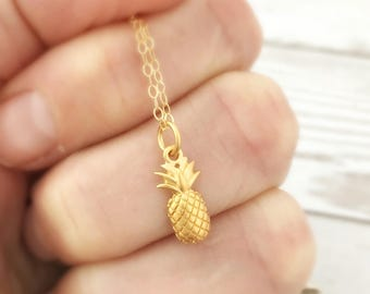 Pineapple Necklace- Gold Jewelry, Inspirational Gift for Her Mom Wife, Mothers Day- Be a pineapple - stand tall wear a crown be sweet inside
