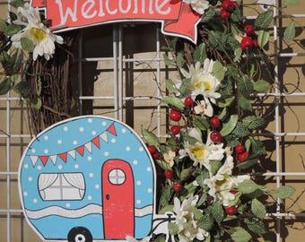 Vintage Style Camper Trailer Grapevine Wreath, Retro Camper Wreath, Front Door Wreath, Summer Wreath