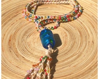 Beaded crochet long necklace with large bead and tassel, lariat necklace, multi happy colours, bohemian jewelry, boho style, beach jewelry