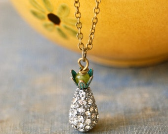 Pineapple necklace/ hospitality necklace/friendship necklace/pave rhinestone necklace/fruit jewelry. Tiedupmemories