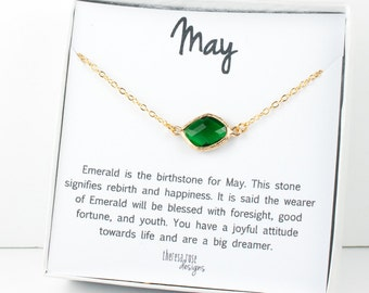 May Birthstone Gold Necklace, Emerald Link Gold Necklace, Emerald Necklace, May Birthstone Jewelry, May Birthday Gift, Bridesmaid Jewelry