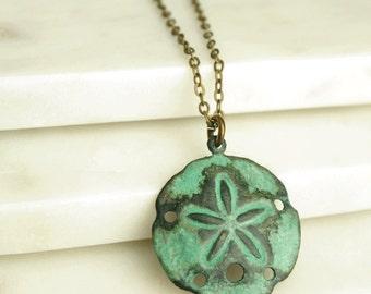 Verdigris Sand Dollar Necklace, Beach Necklace, Shell Necklace